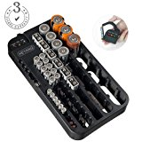 Battery Organizer Storage Rack with a Removable Battery Tester Holds 72 Batteries Various Sizes