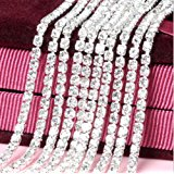 Honbay 10 Yard Crystal Rhinestone Close Chain Trim Sewing Craft 2.5mm Silver color (clear)