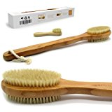 "Bath & Relax Bamboo Bath Brush Long 17"" Handle Back Body Scrubber For shower dry / Wet Skin brushing Suitable for men / women"