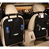 M'Baby 1pc Car Backseat Organizer Woolen Felt Seat Pocket Protector Storage for Bottle, Tissue Box, Toys (Black)