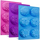 6-Cavity Silicone Flower Shape Cake Molds, SENHAI 3 Packs Fondant Shape Decorating Ice Cube Trays for Homemade Cake Chocolate Cupcake - Purple Blue Pink