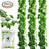 JPSOR 24pcs (157 Feet) Artificial Greenery Fake Ivy Leaves Garland Hanging for Wedding Party Garden Wall Decoration