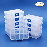 BENECREAT 10 Pack 8 Grids Jewelry Dividers Box Organizer Adjustable Clear Plastic Bead Case Storage Container 11x6.9x3cm, Compartment: 3x2.5cm
