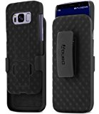 Aduro Samsung Galaxy S8 Holster Shell Case - COMBO Series, Super Slim Shell Case with Built-In Kickstand and Swivel Belt Clip Holster for Samsung Galaxy S8 (Black)