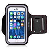 Water Resistant Cell Phone Armband: 5.2 Inch Case for iPhone X, 7, 6, 6S, SE, 5, 5C, 5S, and Galaxy S5, Google Pixel - Adjustable Reflective Velcro Workout Band, Key Holder & Screen Protector