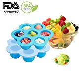 EH-LIFE Baby Food Freezer Tray Food Storage Container with Clip-on Lid, BPA Free & FDA Approved, For Homemade Baby Food, Vegetable & Fruit Purees, Ice Cube, Pudding, Blue
