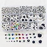 1 box/lot (approx.1120 pcs) 4-25mm Plastic self-adhesive googly wiggle eyes (4-25mm)