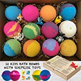 Kids Bath Bombs Gift Set with Surprise Toys (Loose in box), 12 x 3.2oz Fun Assorted Colored Bath Fizzies, Kid Safe, Gender Neutral with Organic Oils –Handmade in the USA Organic Bubble Bath Fizzy