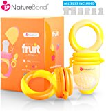 NatureBond Baby Food Feeder / Fruit Feeder Pacifier (2 PCs) - Infant Teething Toy Teether in Appetite Stimulating Colors   Includes 6 PCs All Sizes Silicone Sacs (Sunshine Orange & Lemonade Yellow)