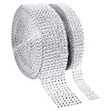 1 Roll 8 Row 10 Yard and 1 Roll 4 Row 10 Yard Acrylic Rhinestone Diamond Ribbon for Wedding Cakes, Birthday Decorations, Baby Shower Events , Arts and Crafts Projects (2 rolls Silver)