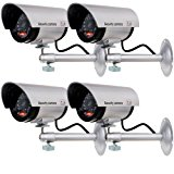 WALI Bullet Dummy Fake Surveillance Security CCTV Dome Camera Indoor Outdoor with one LED Light + Warning Security Alert Sticker Decals WL-TC-S4, 4 Pack