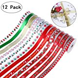 """60yd (12x5yd) 7/16"""" Grosgrain Satin Fabric Ribbon Set, Christmas Wrapping Ribbon for Gift Wrapping, Hair Bows Making, Baby Shower Craft Sewing, Birthday Party or Wedding Decorations"""