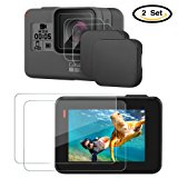 Hapurs Lens Cap and Lens & Screen Protector,2 Pack Protective Lens Cover Case and 2 Set Anti-scratch Tempered Glass Screen and Lens Protector for GoPro Hero 5 Hero 6
