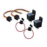 Absolute USA 2 In-line ATC Fuse Holder, 2 Relay RLS125 12 VCD Automotive Relay SPDT 30/40A and 2 SRS105 12 VDC 5-Pin Relay Socket
