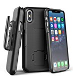 iPhone X Belt Clip Case & Screen Protector, Encased [DuraClip] Slim Fit Holster Shell Combo (w/ Rubberized Grip Finish) For Apple iPhone X - 2017 Release (Smooth Black)