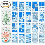 Letter Stencils,Myguru 22 Pieces Bullet Journal Painting Stencil Template Planner Christmas Greeting Cards for DIY Craft,Scrapbooking/Journal/Notebook/Diary