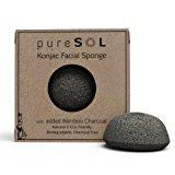 pureSOL Konjac Facial Sponge - Activated Charcoal - Stocking Stuffer