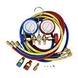 Orion Motor Tech 5FT AC Diagnostic Manifold Freon Gauge Set for R134A R12, R22, R502 Refrigerants, with Couplers and ACME Adapter