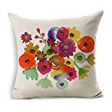 Usstore 1PC Decorative Pillowcases Zipper Flowers Linen Square Throw Pillow Cover Cafe Home Decoration for Living Sofas Beds Room (B)