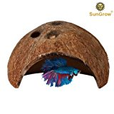 SunGrow Betta cave: Natural habitat made from coconut shells: Soft-textured smooth edges & spacious hideout for Betta fish to rest and breed: Maintains water quality and pH levels