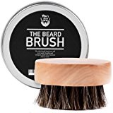Beard Brush for Men - Round Wooden Handle Perfect for Beard Oil & Balm with Natural Soft Horse Hair Bristles Styling & Grooming Tool Helps Softening and Conditioning