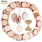 """50pcs 1.9""""-2.4"""" Wood Slices with Holes and 33 Feet Natrual Jute Twine for DIY Crafts Centerpieces by MAIYUAN"""