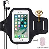 Sports Armband, Universal Outdoor Running Arm Band Workout Cell Phone Bag with Key Holder/ Fingerprint Touch for Apple iPhone X/8/7/6S/6 Plus, Samsung Galaxy S8/S7/S6 Edge, Note LG HTC (Black)
