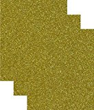 Siser Glitter Heat Transfer Vinyl HTV for T-Shirts 10 by 12 Inches (1 Foot) Sheets 3 Pack (Gold)