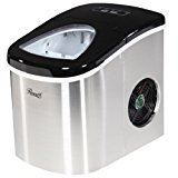 Rosewill Compact Ice Maker Countertop, Ice Machine for Home, Stainless Steel with Black Top RHIM-15002