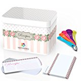 Recipe Box Holder with 56 Double-Sided Cards and 14 Dividers Set and 5 Measuring Spoons for Precision Cooking – Metal Recipe Index Card Box with Floral Design for 4 x 6 Recipe Cards