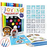 Joyin Toy Face Paint Ultimate Party Pack - 12 Colors, 24 Stencils, 2 Glitter Gel, 3 Brushes and Idea Booklet Included, Easy on & Easy Off, Non-Toxic, Arts & Crafts for All Parties