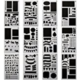 SUBANG 12 Pieces Journal Stencil Plastic Planner Stencils Journal/Notebook/Diary/Scrapbook DIY Drawing Template Stencil 4x7 Inch