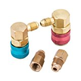 "Orion Motor Tech R12 to R134A Brass Conversion Quick Connect Coupler Adapter with 1/2"" ACME Female & SAE 1/4"" Male Flare Fittings Tank Adapter for AC HVAC Freon Manifold Gauge Set, Unadjustable"