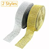 CEWOR 2 Rolls 8 Row 10 Yard/Roll Acrylic Rhinestone Diamond Net Ribbons Sparkling Mesh for Wedding Cakes DIY Decoration Arts and Crafts Projects (Silver and Gold)