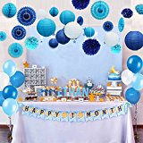 Kubert 89 Pcs White and Blue Party Decorations Including Paper Tissue Pompoms, Paper Tissue Pompoms,, Paper fan flower, paper lantern & Balloons For Birthday, Baby Shower, Bridal, Weddings & More