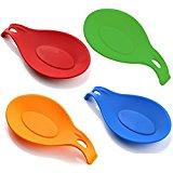 iNeibo Kitchen Silicone Spoon Rest, Set of 4, (Colorful,Big Size)