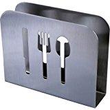 Pro Chef Kitchen Tools Stainless Steel Modern Napkin Holder - Serviette Dispenser With Dinner Eating Utensil Design On Metal Caddy for Home and Restaurant Kitchens