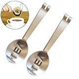 2 Pcs Stainless Steel Tea Bag Tongs Teabag Squeezer Strainer Holder Grip Metal Spoon Mini Sugar Clip Kitchen Bar Tools by DINGJIN