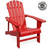 Songsen Outdoor Log Wood Adirondack lounge Chair Patio Deck Garden Furniture - Red