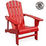 Songsen Outdoor Log Wood Adirondack lounge Chair Patio Deck Garden Furniture - Red