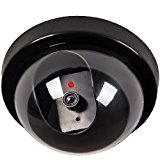 WALI Dummy Fake Security CCTV Dome Camera Flashing Red LED Light with Warning Security Alert Sticker Decals