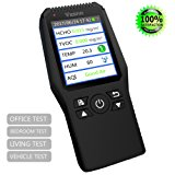 Multi Testers Indoor Air Quality Detector Accurate Testing Formaldehyde(HCHO) Monitor with TEMP/HUM/AQI/TVOC Test Data Logger Detector Air Quality Meter for Car Outdoor Detection by Vzznn