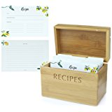 Mint + Elm Bamboo Recipe Box with 100 Recipe Cards and 10 Dividers. 4x6 Cards are made with thick cardstock. Clean and Modern Design.
