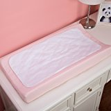 TILLYOU 3 Pack Waterproof Baby Diaper Changing Table Pads Covers and Liners, White - Quilted Reusable Changing Mats Sheet Protector for Babies