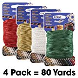 #1 Craft Cord 4-Pack Special - Needloft - Includes: #01 Metallic Gold, #03 Metallic Red, #04 Metallic Green, #33 Iridescent White - 4 Pack 80 Yards (4x20yds)