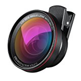 AMIR Phone Camera Lens, 0.6X Super Wide Angle Lens + 15X Macro Lens, 2 in 1 Clip-On Cell Phone Camera Lens for iPhone 8, 7, 7 Plus, 6s, 6, Samsung, Other Smartphones