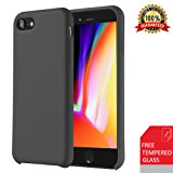 iPhone 7 Case, iPhone 8 Case, VIPFAN Slim Liquid Silicone Gel Rubber Protective Shockproof Scratch-Resistant 4.7 Inch Cover with Soft Microfiber Cloth Lining Cushion(Black)
