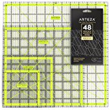 """Arteza Acrylic Quilters Ruler & Non Slip Rings - Double-Colored Grid Lines (4.5""""X4.5"""", 6""""X6"""", 9.5""""X9.5"""", 12.5""""X12.5"""", Set of 4)"""