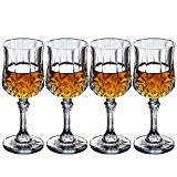 Crystal Wine Glasses Set of 4 by Bella Vino - 7.9 Ounce - Old Fashioned Designed Carved Wine Glass - Lead-Free Short Stem Champagne Goblets - Durable and Dishwasher Safe - for Family Dinner, Parties