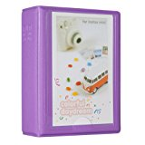 Woodmin 28+1 Pockets Mini Polaroid Photo Album for 3 inch Pictures by Fujifilm Instax Mini 8 8+ Mini 9, Snap, Zip, Z2300, Bank Card, Business namecard Book (Purple)